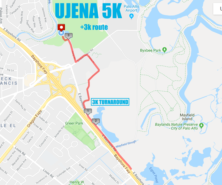 Palo Alto 5K and 3K Leg Route